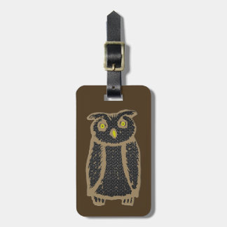 Owl - eagle owl - fogy luggage tag