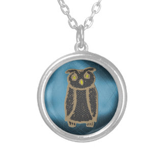 Owl - eagle owl - fogy silver plated necklace