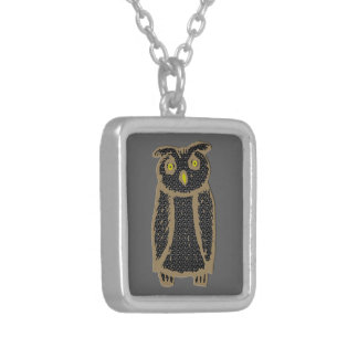 Owl - eagle owl - fogy square pendant necklace