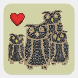 Owl - eagle owl - fogy square sticker