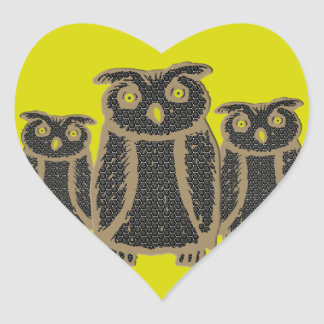 Owl - eagle owl - fogy heart sticker
