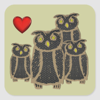 Owl - eagle owl - fogy square stickers