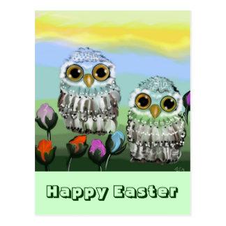 Owl Easter map English Postcard