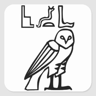 Owl, Egyptian hieroglyph Square Sticker