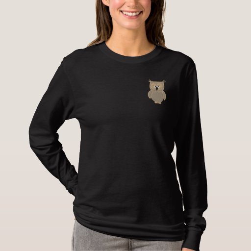 Owl Embroidered Long Sleeve T-Shirt