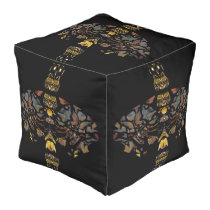 Owl Enchantment Pouf-Home- Blue/Gold/Red/Black Pouf