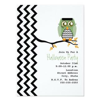 Owl - Enstein Chevron Halloween Party Invitation