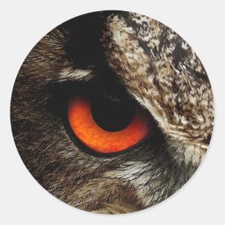 Owl Eye #1- Red Classic Round Sticker
