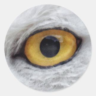 Owl Eye #3- Yellow Classic Round Sticker