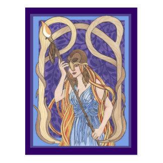 Owl Eyed Athena Messenger Postcard