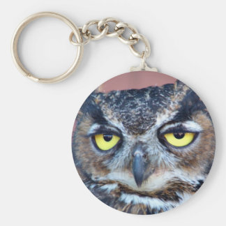 Owl Eyes Basic Round Button Keychain