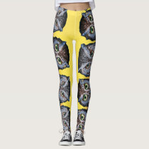 OWL EYES ON YOU YELLOW by Slipperywindow Leggings