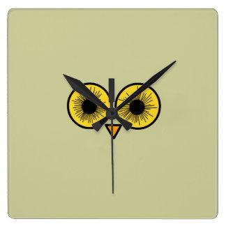 Owl Eyes Square Wallclock