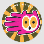 Hand shaped Owl Face Classic Round Sticker
