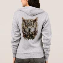 Owl Face Grunge Light Zip Hoodie