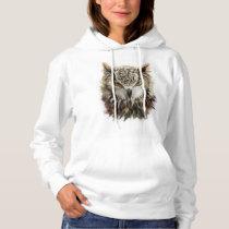 Owl Face Grunge White Hoodie