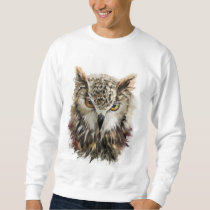 Owl Face Grunge White Sweatshirt