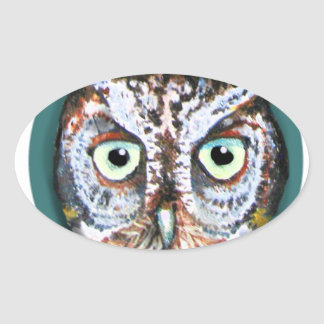 OWL FACE WITH BIG EYES OVAL STICKER