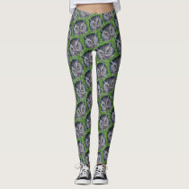 OWL FACES on GREEN  by Slipperywindow Leggings