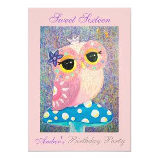 Owl Fairy Princess Sweet Sixteen Birthday Party 5x7 Paper Invitation Card