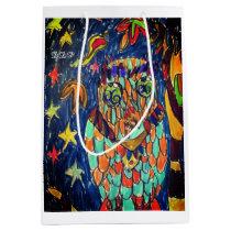 owl fall art two medium gift bag