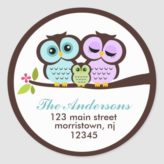 Owl Family Address Labels