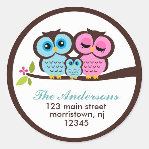 Owl Family Address Labels Classic Round Sticker