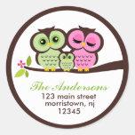 Owl Family Address Labels Round Sticker