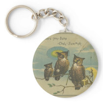 owl family and fishing fox keychain