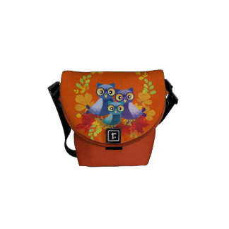 Owl family autumn courier bags
