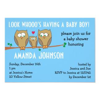 Owl Family Baby Shower Invitation, Blue Invitation