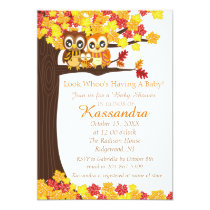 Owl Family In Colorful Tree Baby Shower Invitation