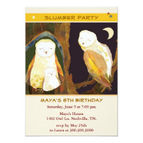 Owl Family Kids Slumber Party Card