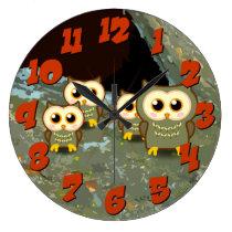 Owl Family Large Clock