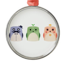 Owl Family Metal Ornament