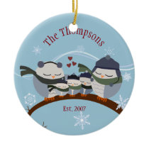 Owl Family of Five in Blues Keepsake Ornament