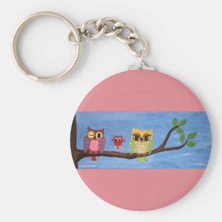 Owl family on a tree keychain