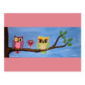 Owl family on a tree postcard