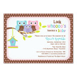 Owl Family on Branch with Bird House Baby Shower I Card