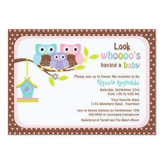 Owl Family on Branch with Bird House Baby Shower I 5x7 Paper Invitation Card