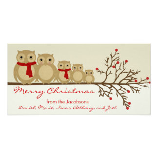 Owl Family Photo Greeting Card