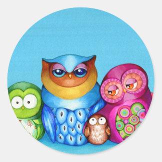 Owl Family Portrait Classic Round Sticker