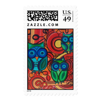 Owl Family Postage Stamps