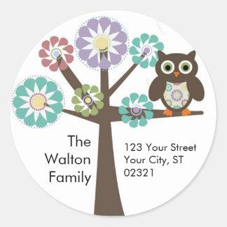 Owl Family Return address round sticker / label