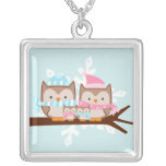 Owl Family Silver Plated Necklace
