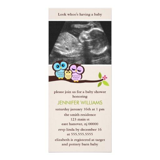 Owl Family Sonogram Photo Baby Shower Invitations