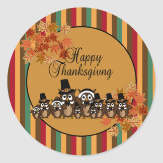 Owl Family Thanksgiving Classic Round Sticker