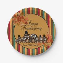 Owl Family Thanksgiving Turkey Dinner Paper Plate
