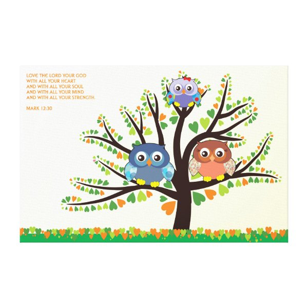 Owl Family Tree Canvas Print