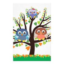 Owl Family Tree Stationery